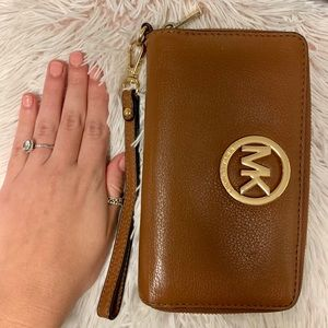 Michael Kors Brown Leather Wristlet/Wallet